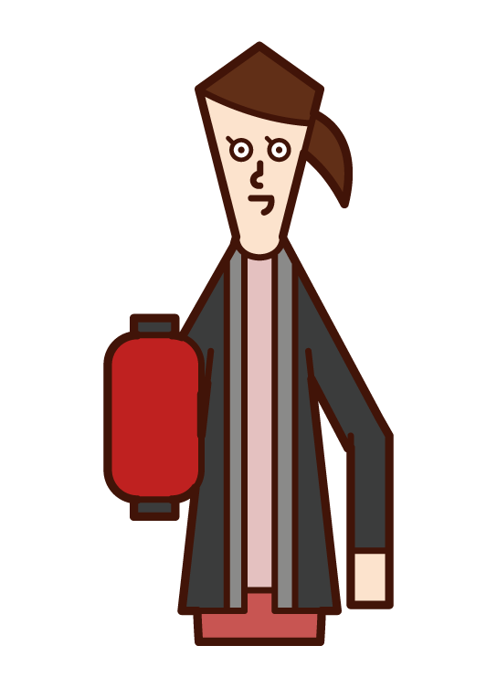 Illustration of fire watch and disaster prevention training (female)