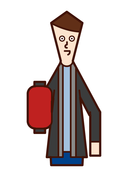 Illustration of fire watch and disaster prevention training (male)