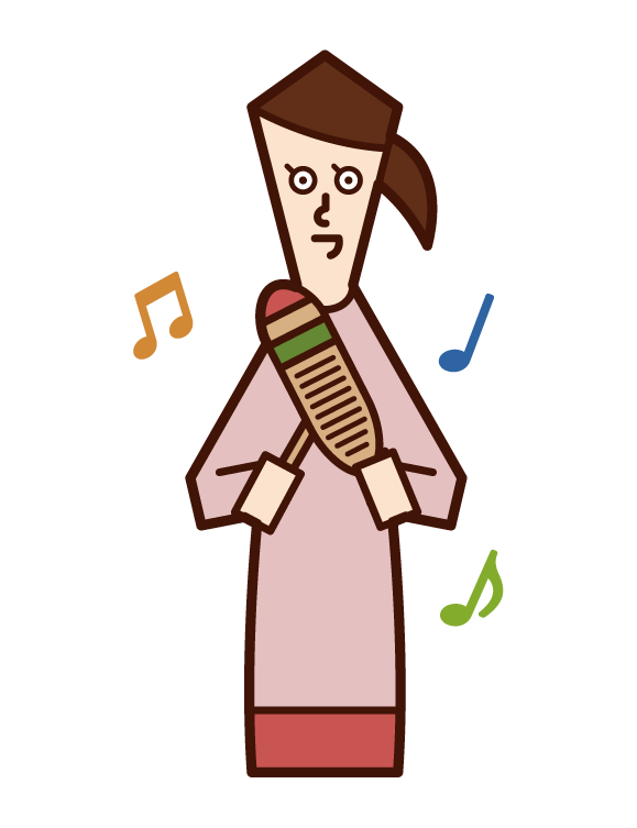 Illustration of a woman playing a guillo