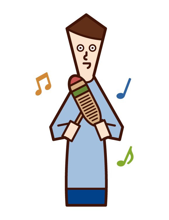 Illustration of a man playing a guillo