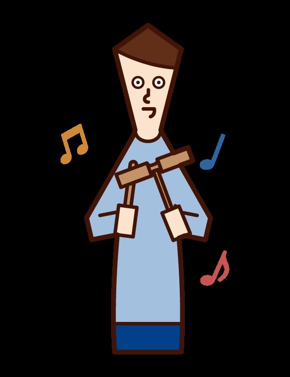 ウッドブロックを演奏する人(男性)のイラスト