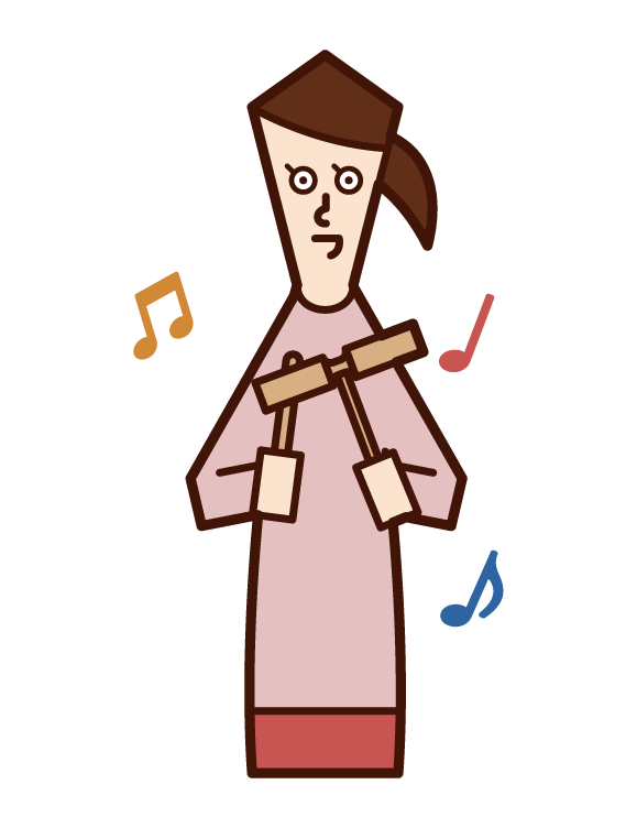 ウッドブロックを演奏する人(女性)のイラスト