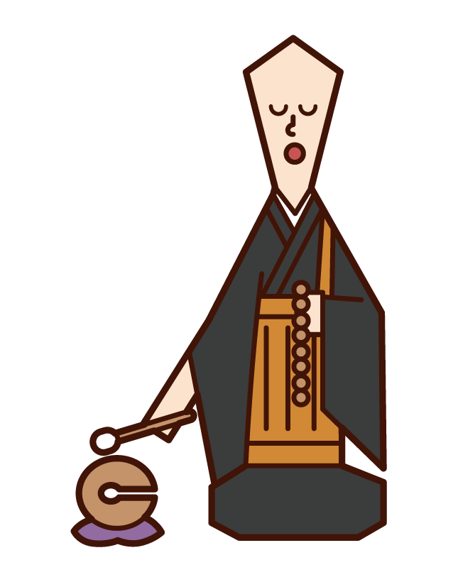 Illustration of a monk hitting a wooden fish