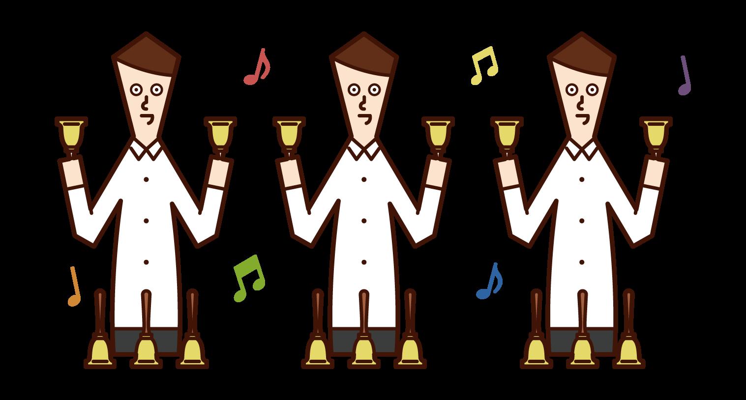 손벨을 연주하는 사람(남성)의 일러스트
