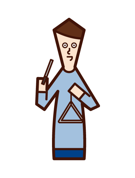 Illustration of a man playing triangles