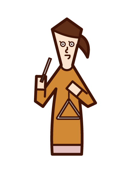 Illustration of a woman playing triangles