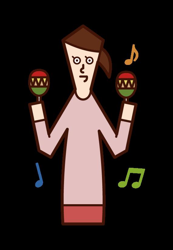 マラカスを演奏する人(女性)のイラスト
