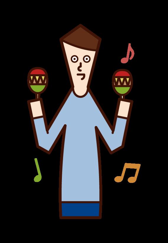 演奏馬拉卡斯的人(男性)的插圖