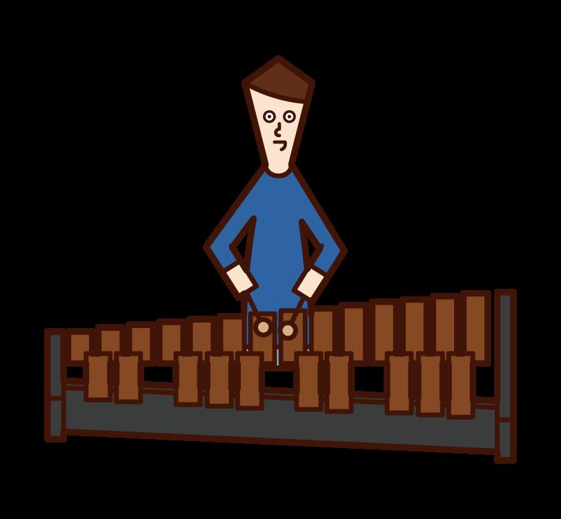 兒童(男孩)玩木琴(馬林巴雪紡)的插圖