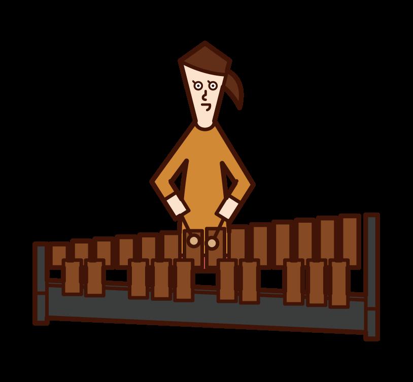 兒童(女孩)玩木琴(馬林巴·西羅芬)的插圖