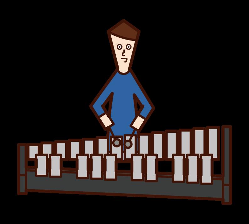 兒童(男孩)玩鐵琴的插圖