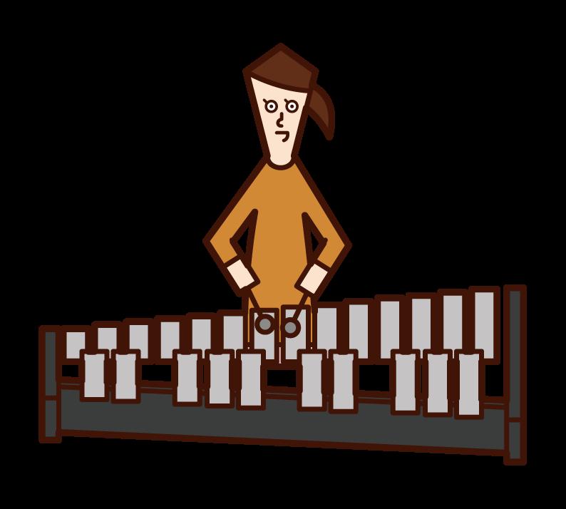 兒童(女孩)的插圖,玩鐵琴