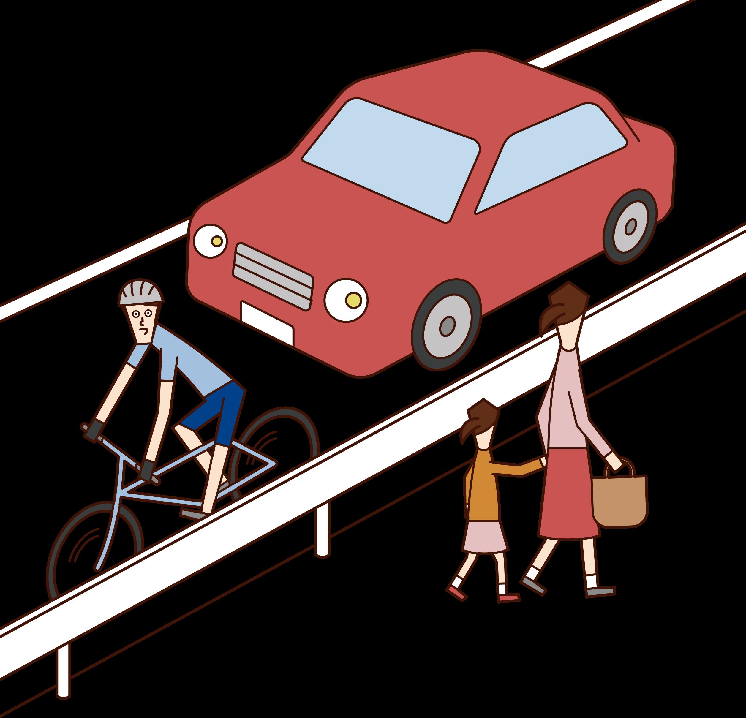 自転車で車道を走る人(男性)のイラスト
