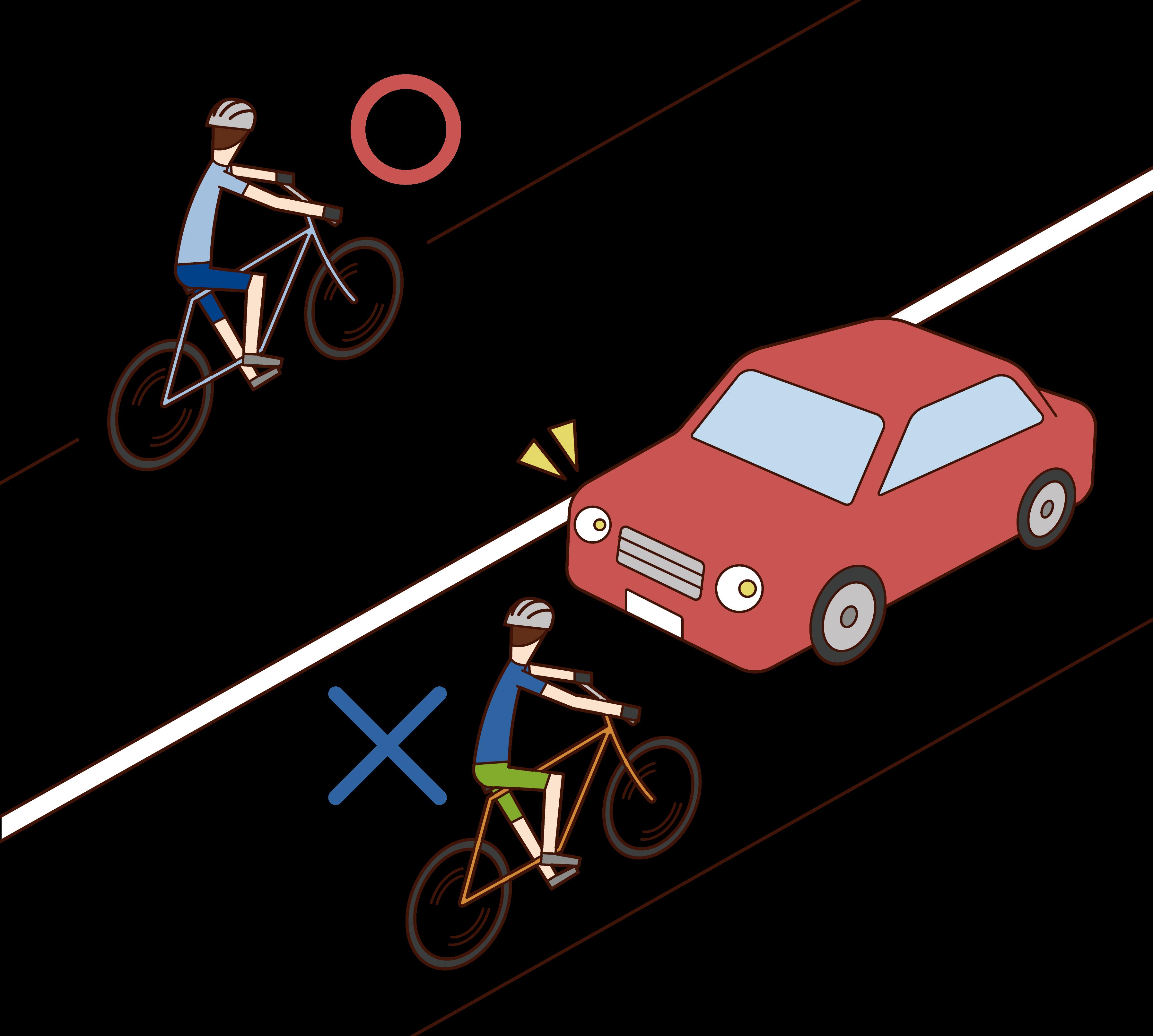 自転車は左側を通行するルールのイラスト