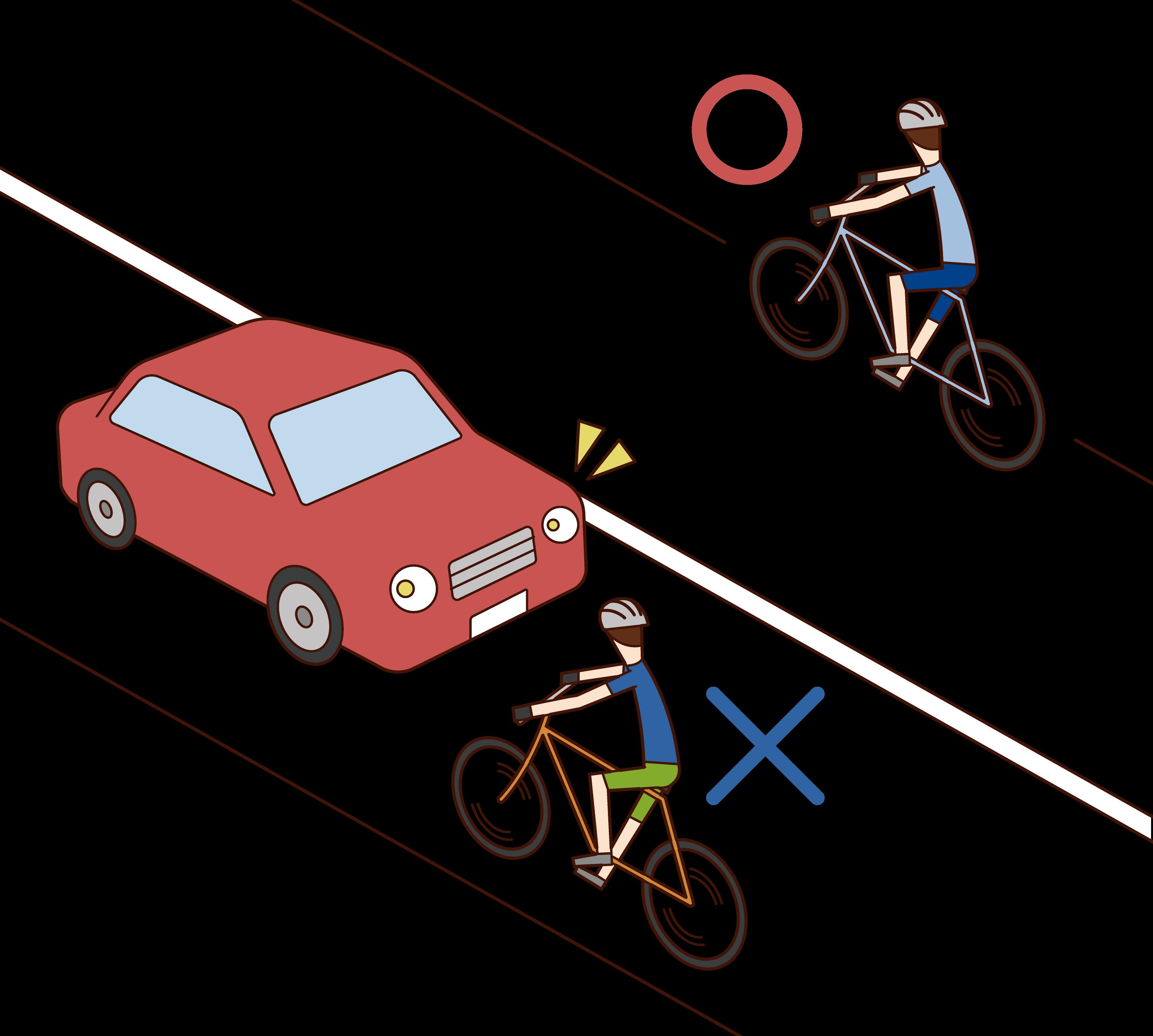 自転車の通行ルールのイラスト
