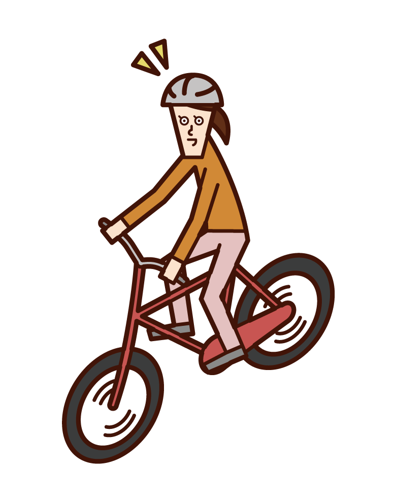 Illustration of a child (girl) riding a bicycle wearing a helmet