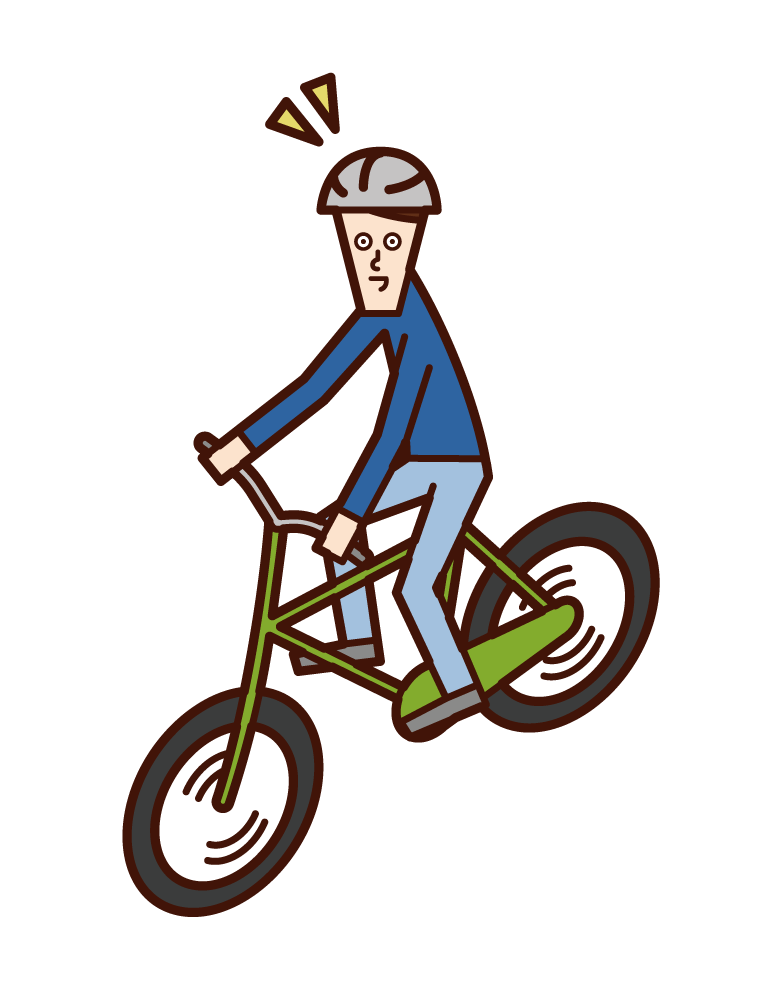 Illustration of a child (boy) riding a bicycle wearing a helmet