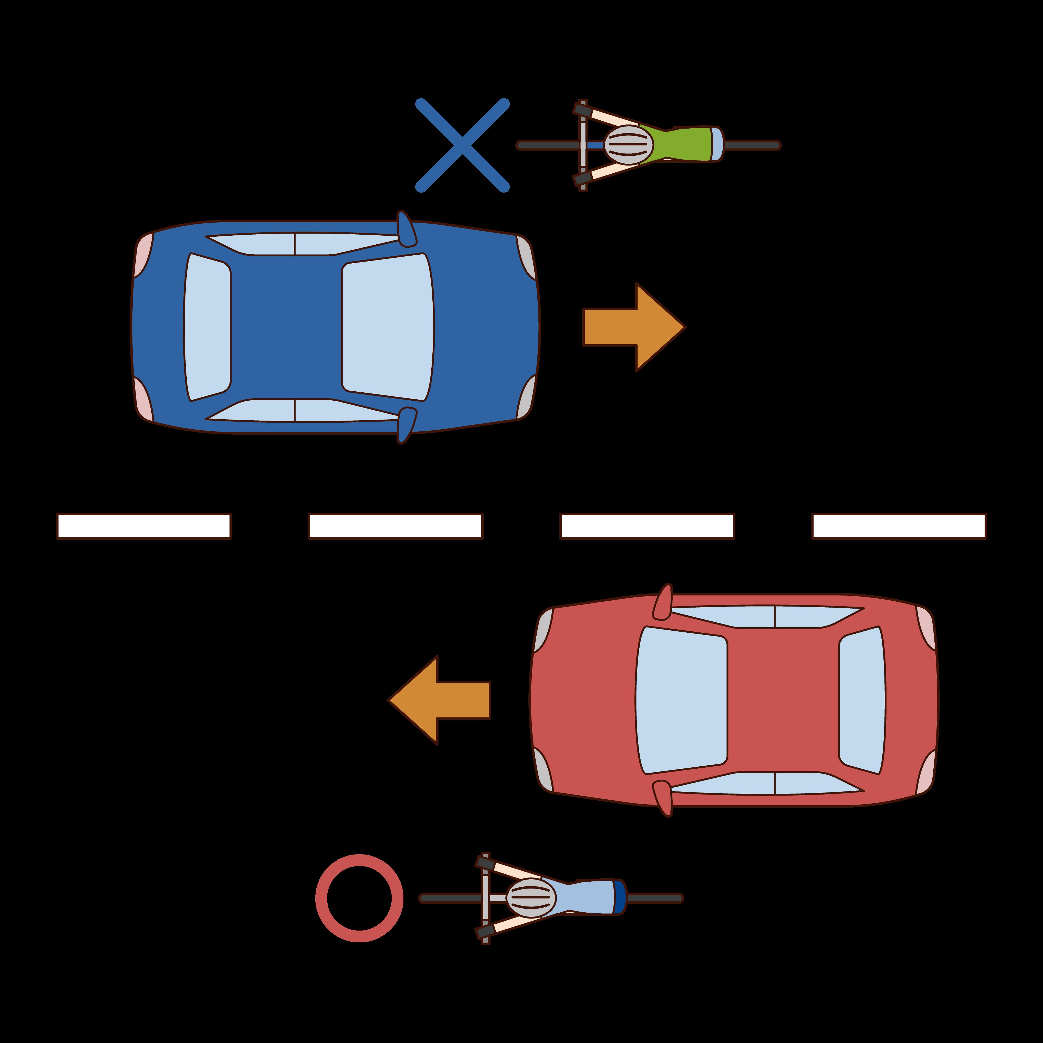 自転車は左車線を走るルールのイラスト