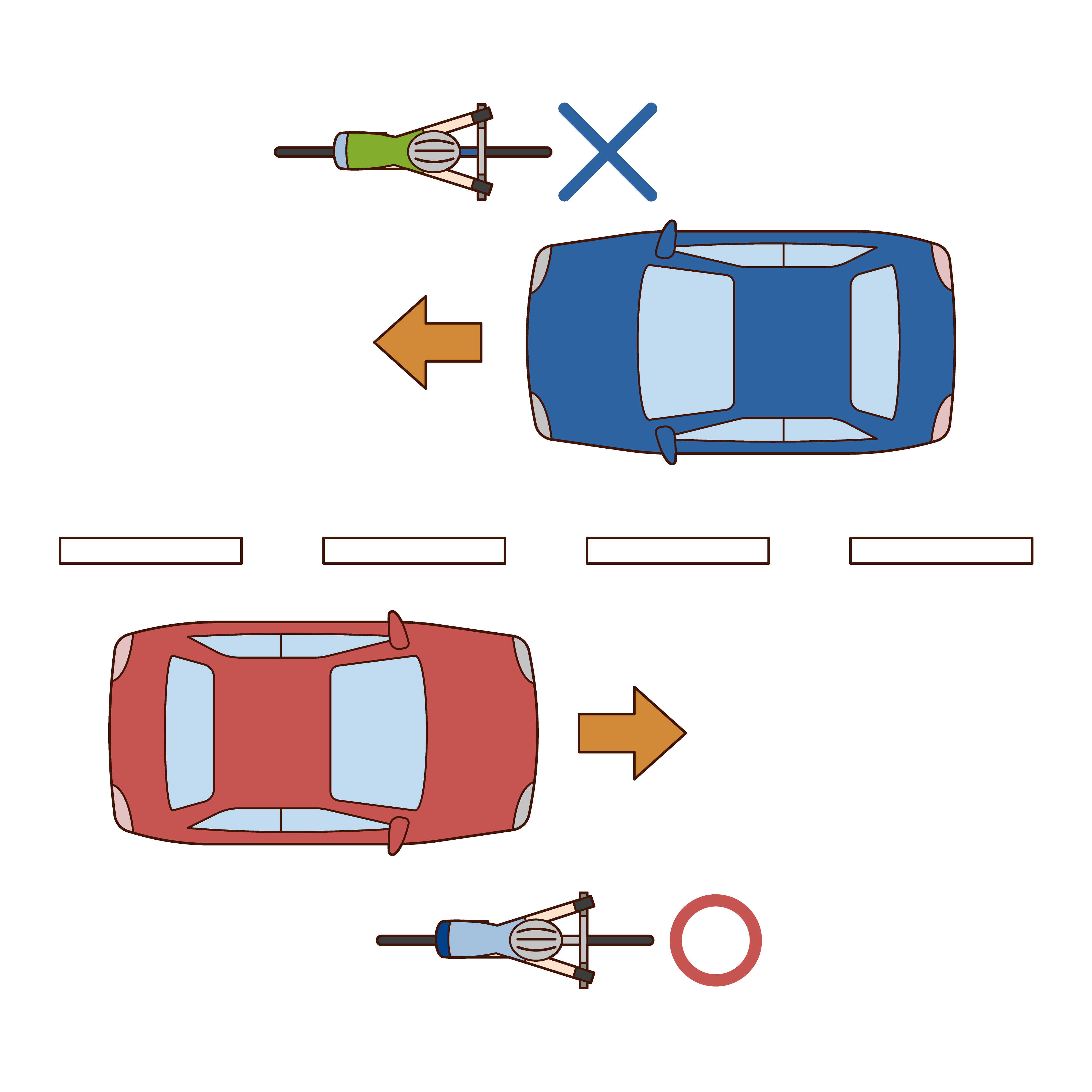 自転車は右車線を走るルールのイラスト