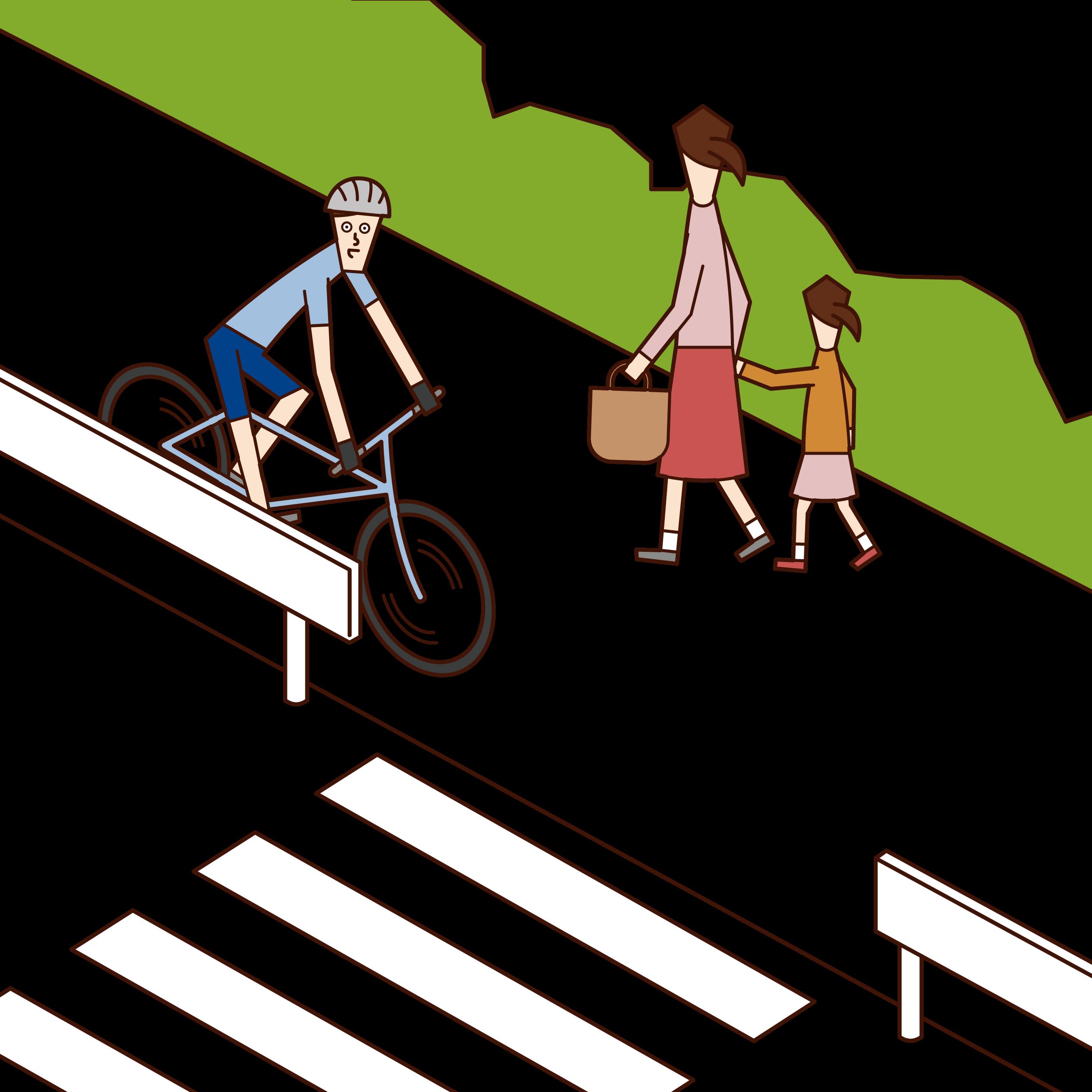 歩行者を優先して歩道を走る自転車乗り(男性)のイラスト