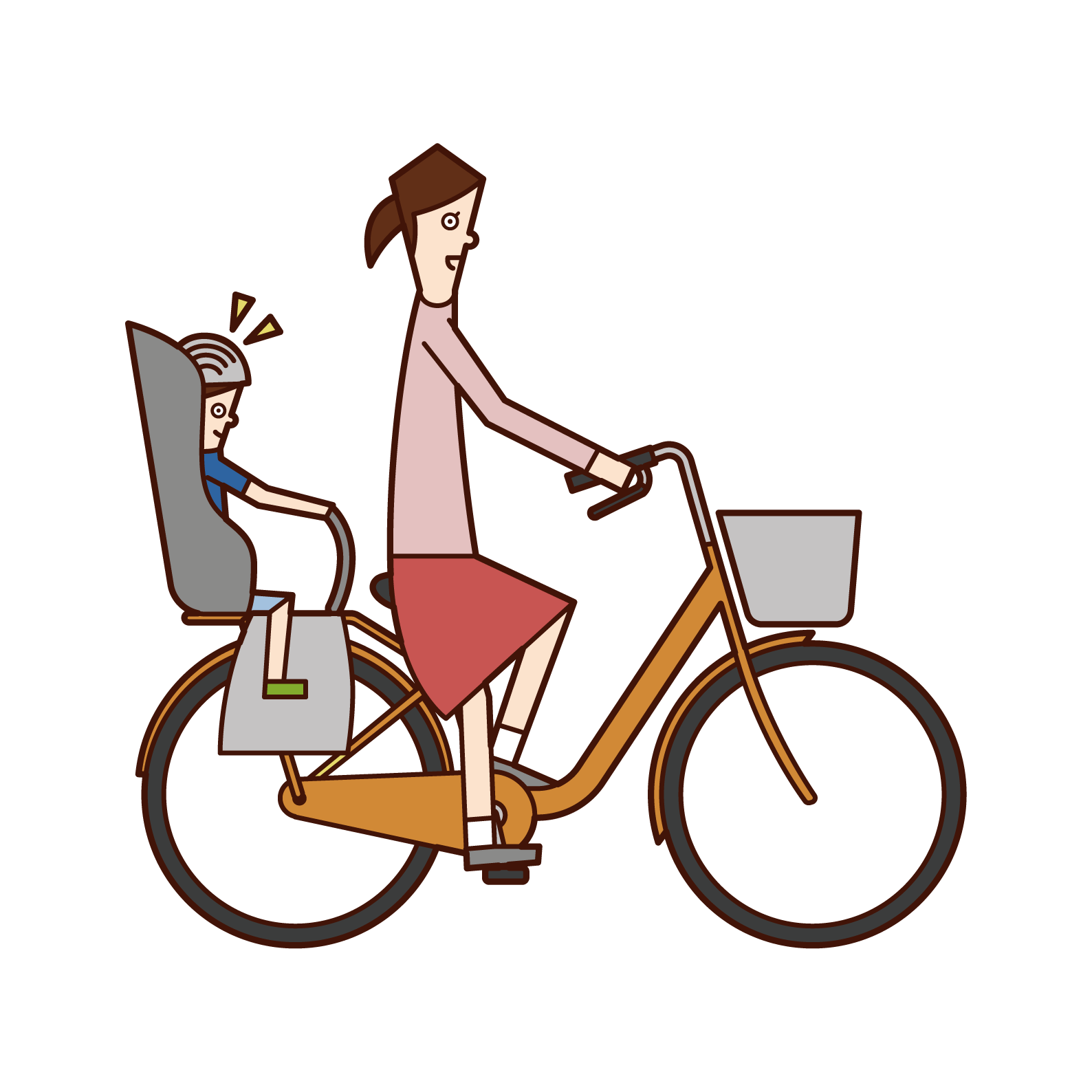 Illustration of a woman riding a bicycle with a child wearing a helmet