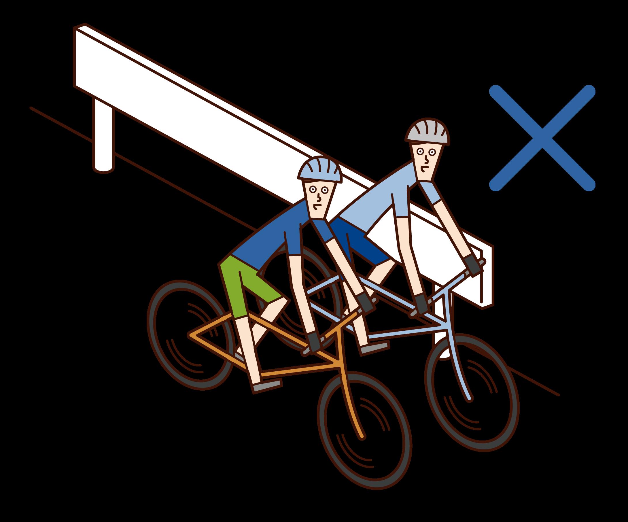 자전거를 타고 나란히 달리는 사람(남성)의 일러스트
