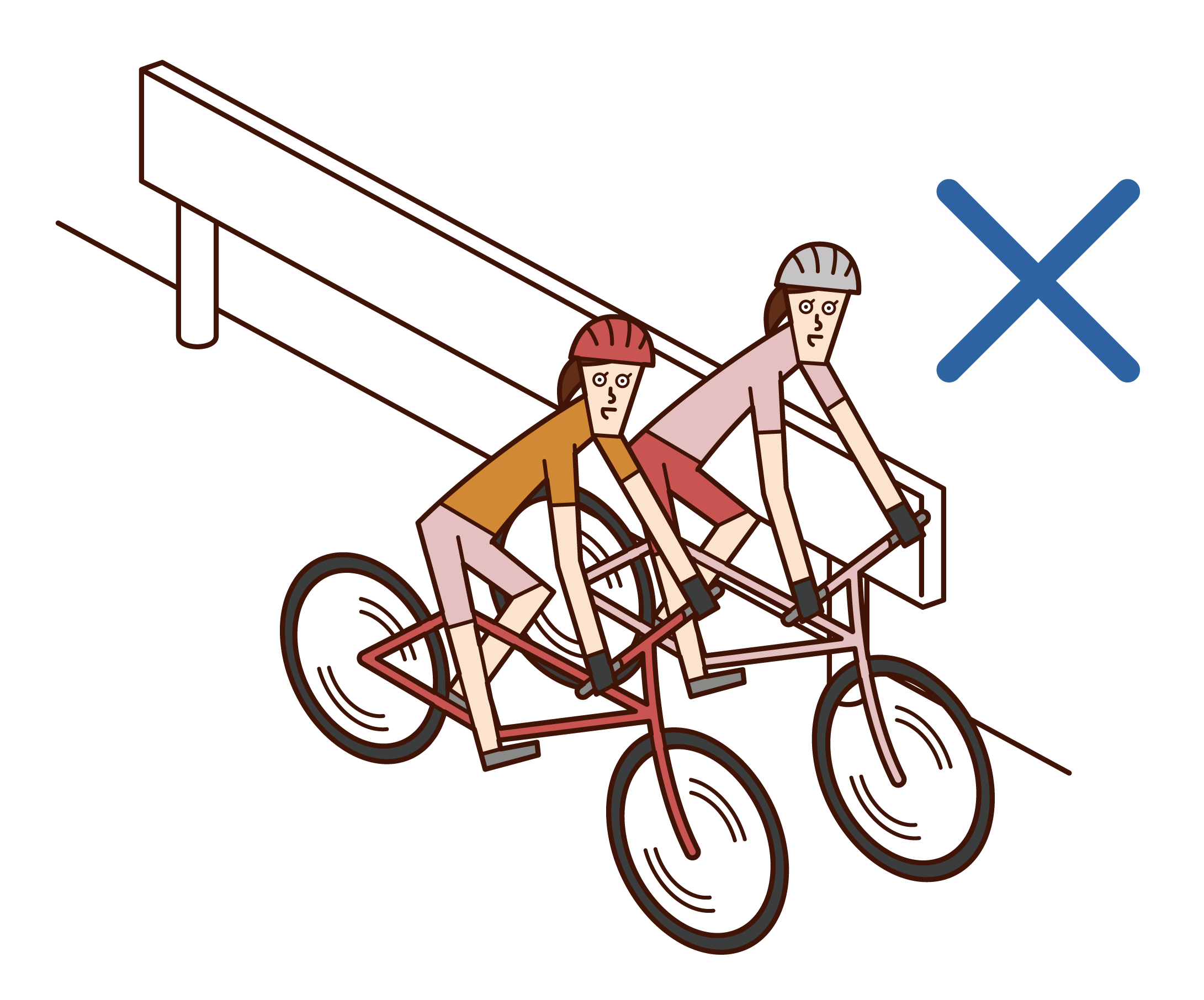 자전거를 타고 나란히 달리는 사람(여성)의 일러스트