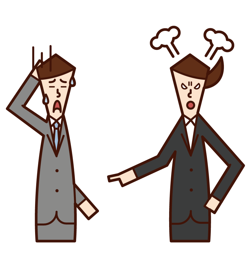 Illustration of a subordinate (man) who is angry with his boss