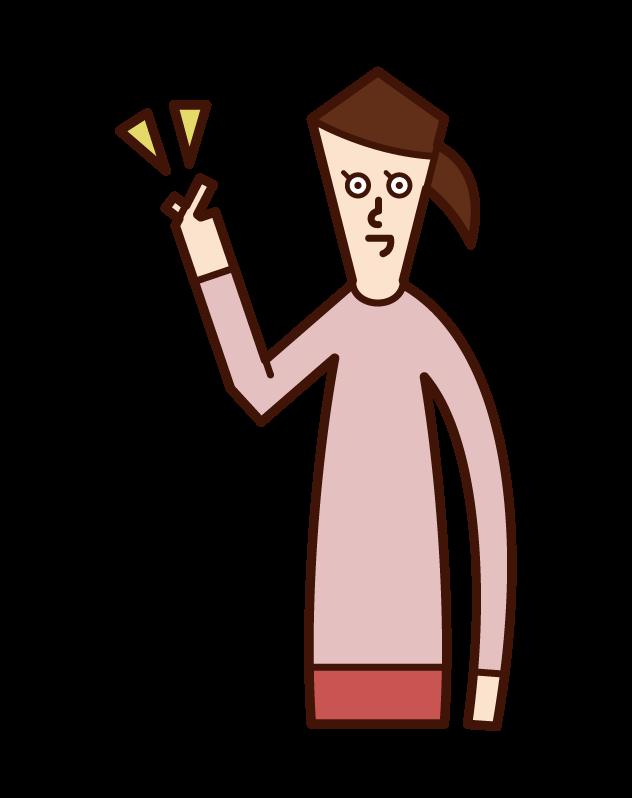 フィンガースナップをする人(女性)のイラスト