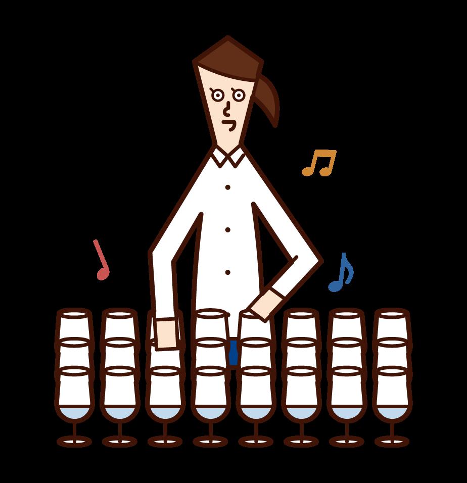 演奏玻璃豎琴的人(女性)的插圖