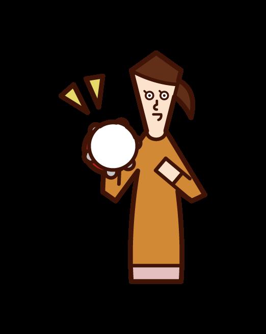 Illustration of a child (girl) playing tambalin