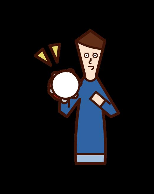 Illustration of a child (boy) playing tambalin