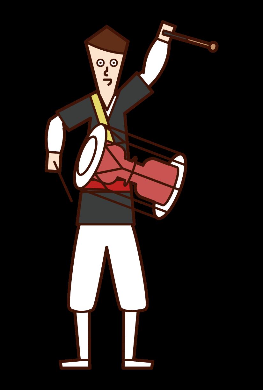チャングを演奏する人(男性)のイラスト