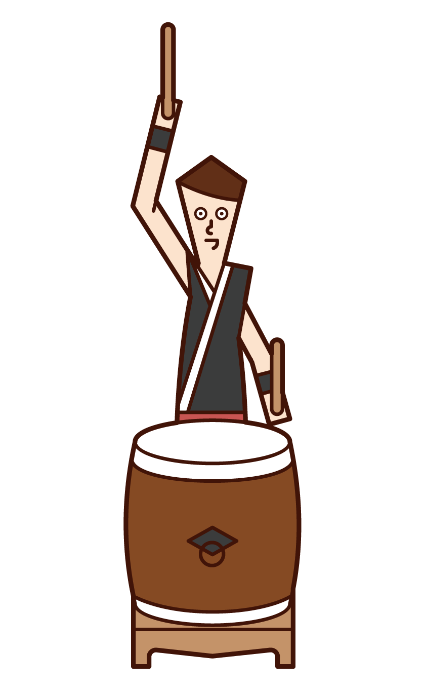 Illustration of a man playing Japanese drums