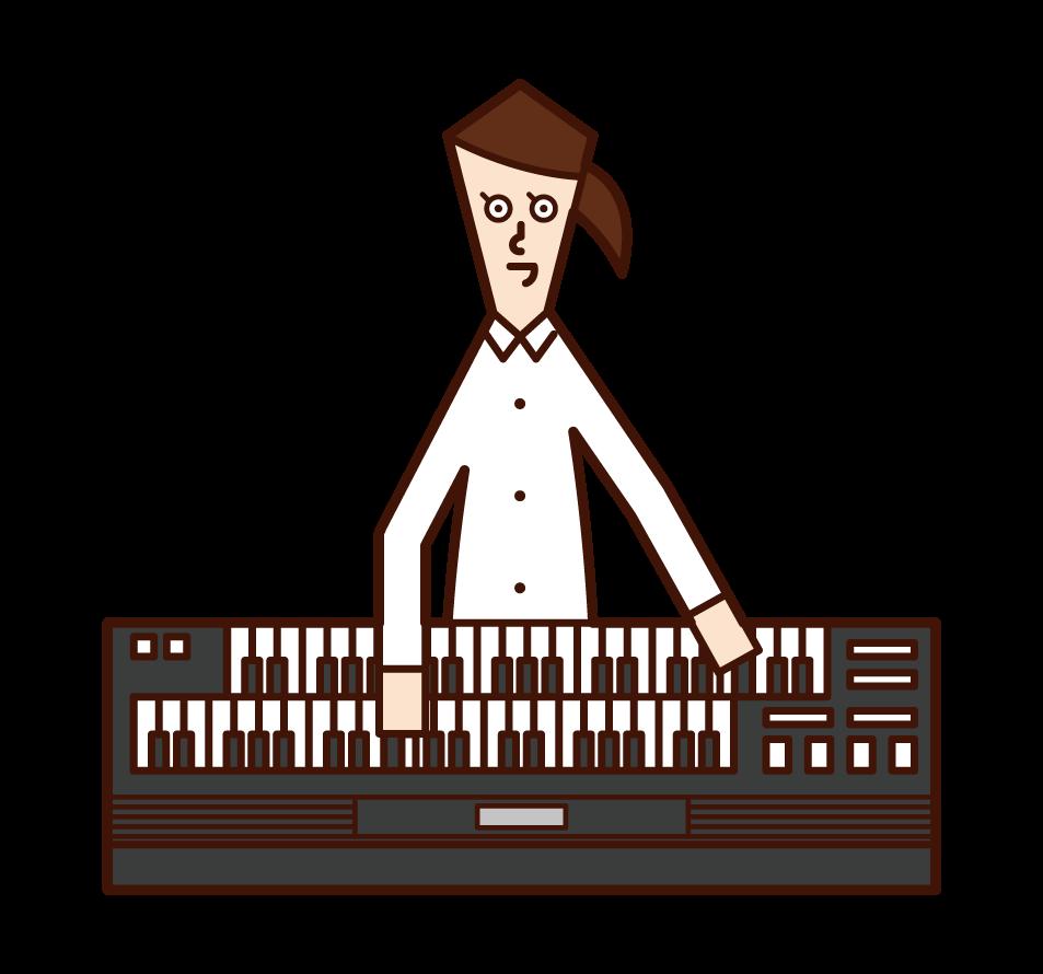 電子オルガンを演奏する人(女性)のイラスト