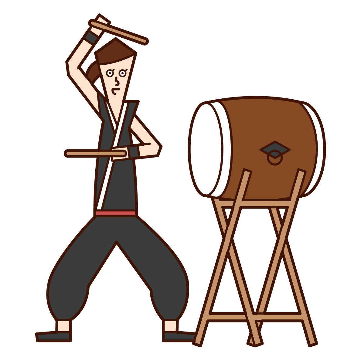 Illustration of a woman playing Japanese drums