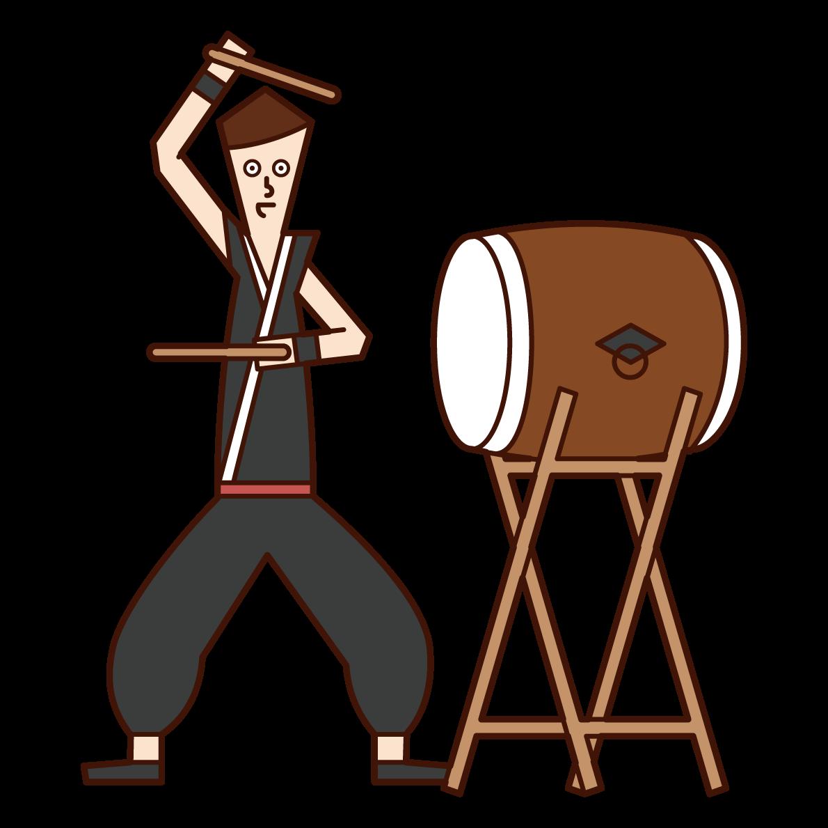 和太鼓を演奏する人(男性)のイラスト