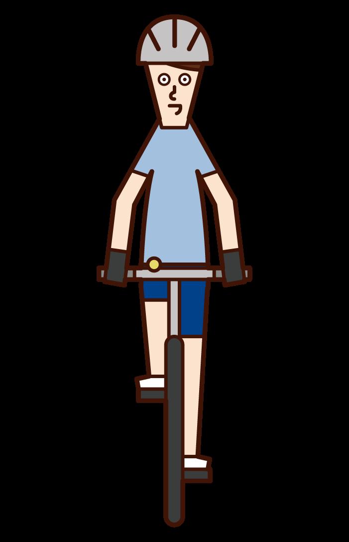 自転車に乗る人(男性)のイラスト