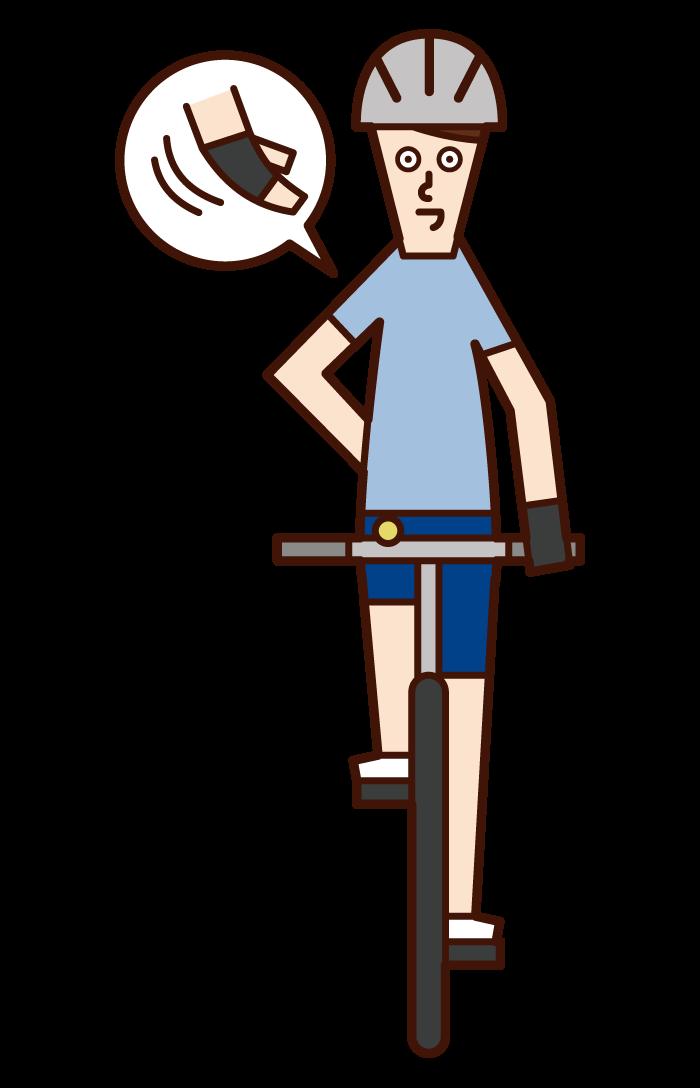 自行車手信號和靠左(男性)的插圖