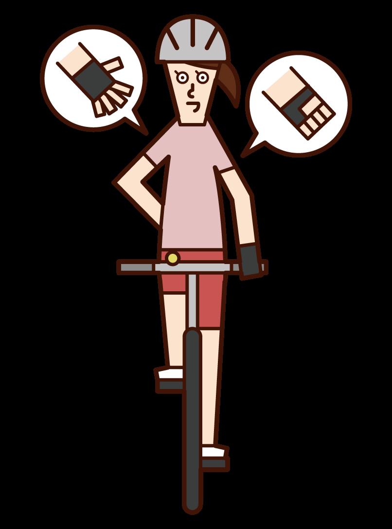 自行車手信號和速度下降(女性)的插圖