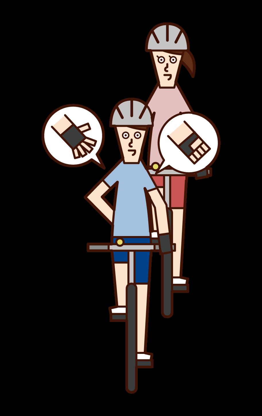 自行車手信號和速度下降(男性)的插圖