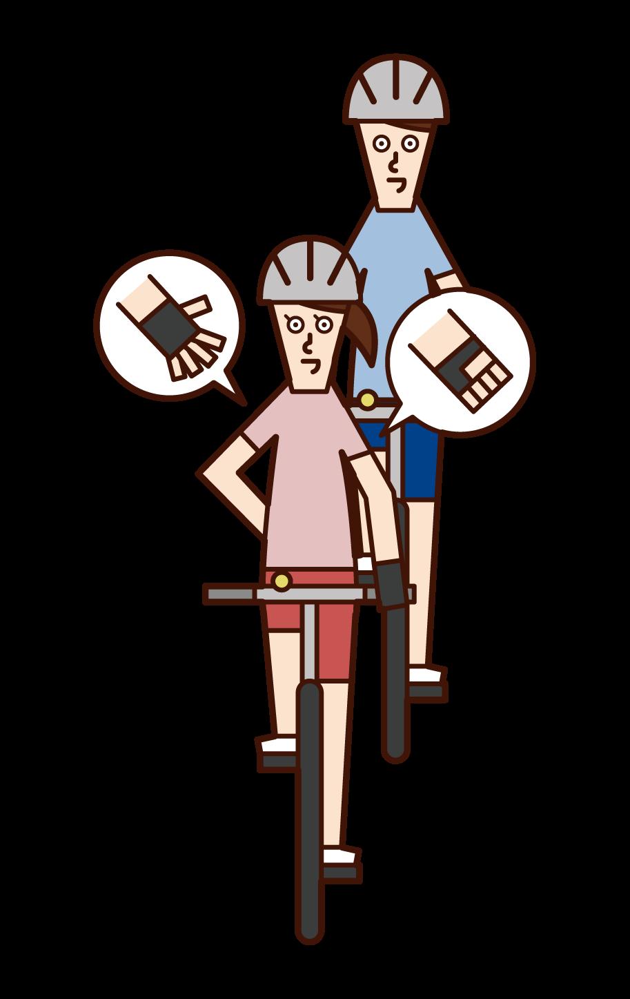 自転車の手信号・速度を落とす(女性)のイラスト
