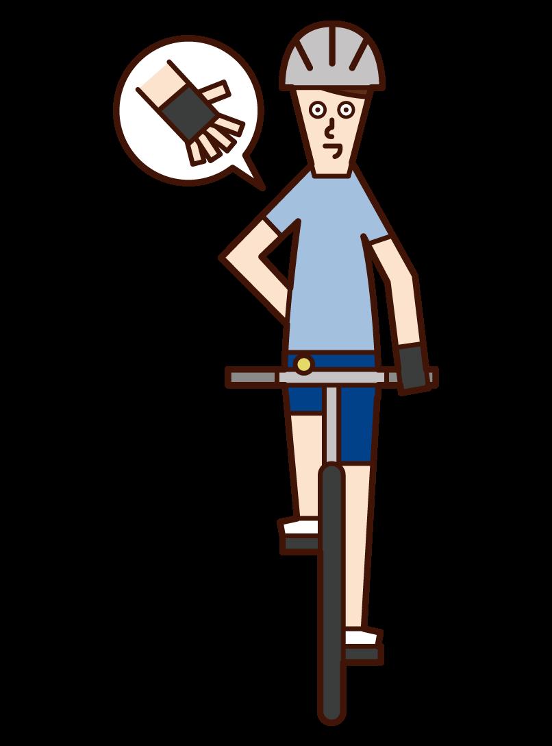 自転車の手信号・停止(男性)のイラスト
