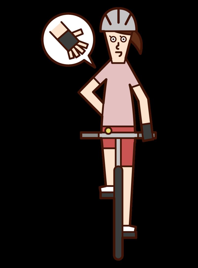 自転車の手信号・停止(女性)のイラスト