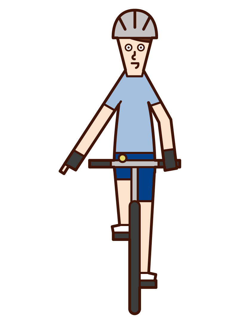 自転車の手信号・路面に注意(男性)のイラスト