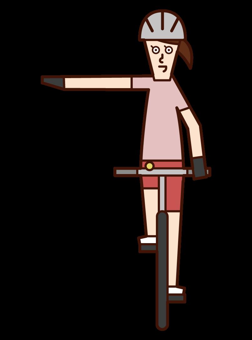 自転車の手信号・右折(女性)のイラスト