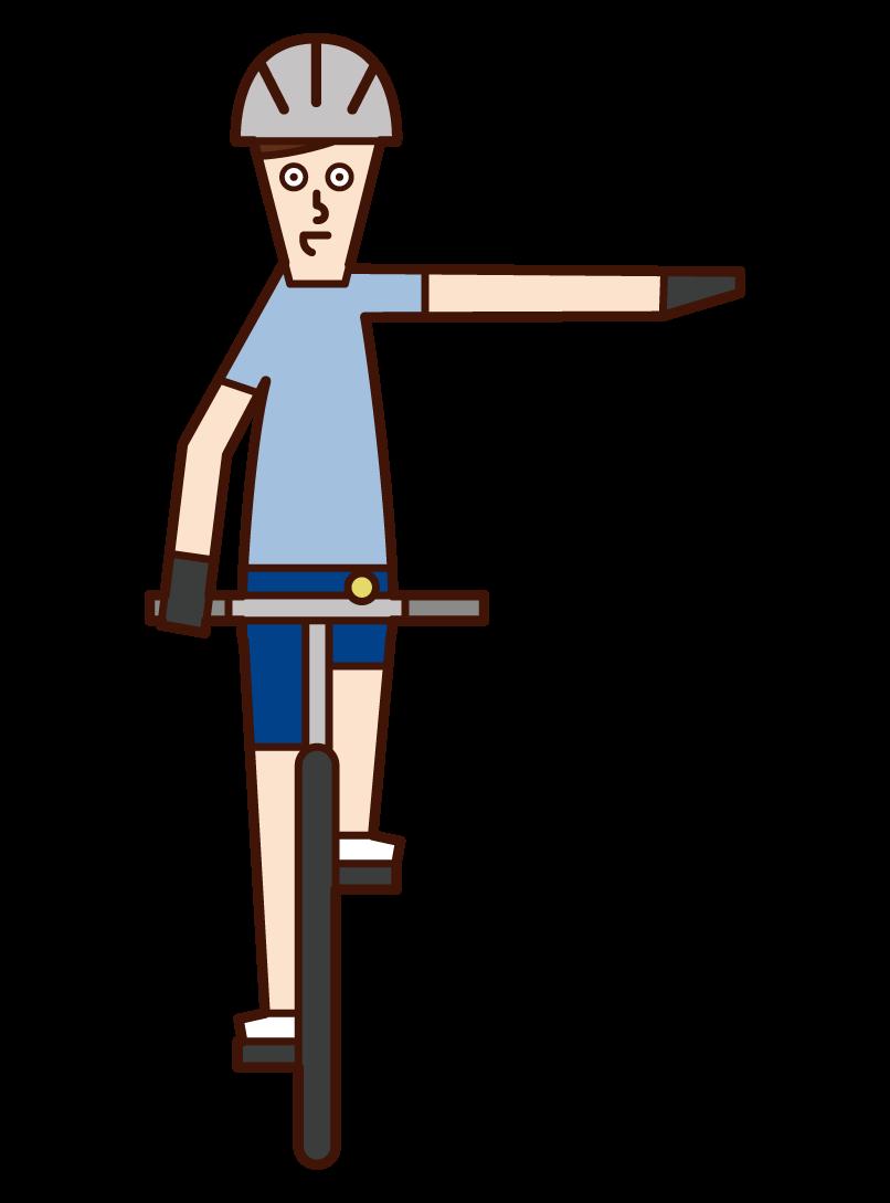 自転車の手信号・左折(男性)のイラスト