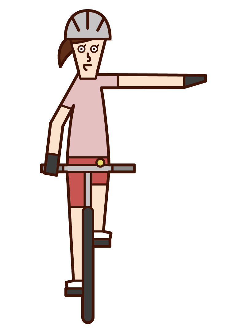 自転車の手信号・左折(女性)のイラスト