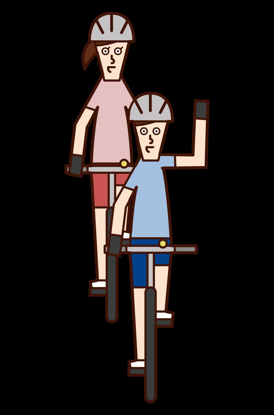自転車の手信号・右折(男性)のイラスト