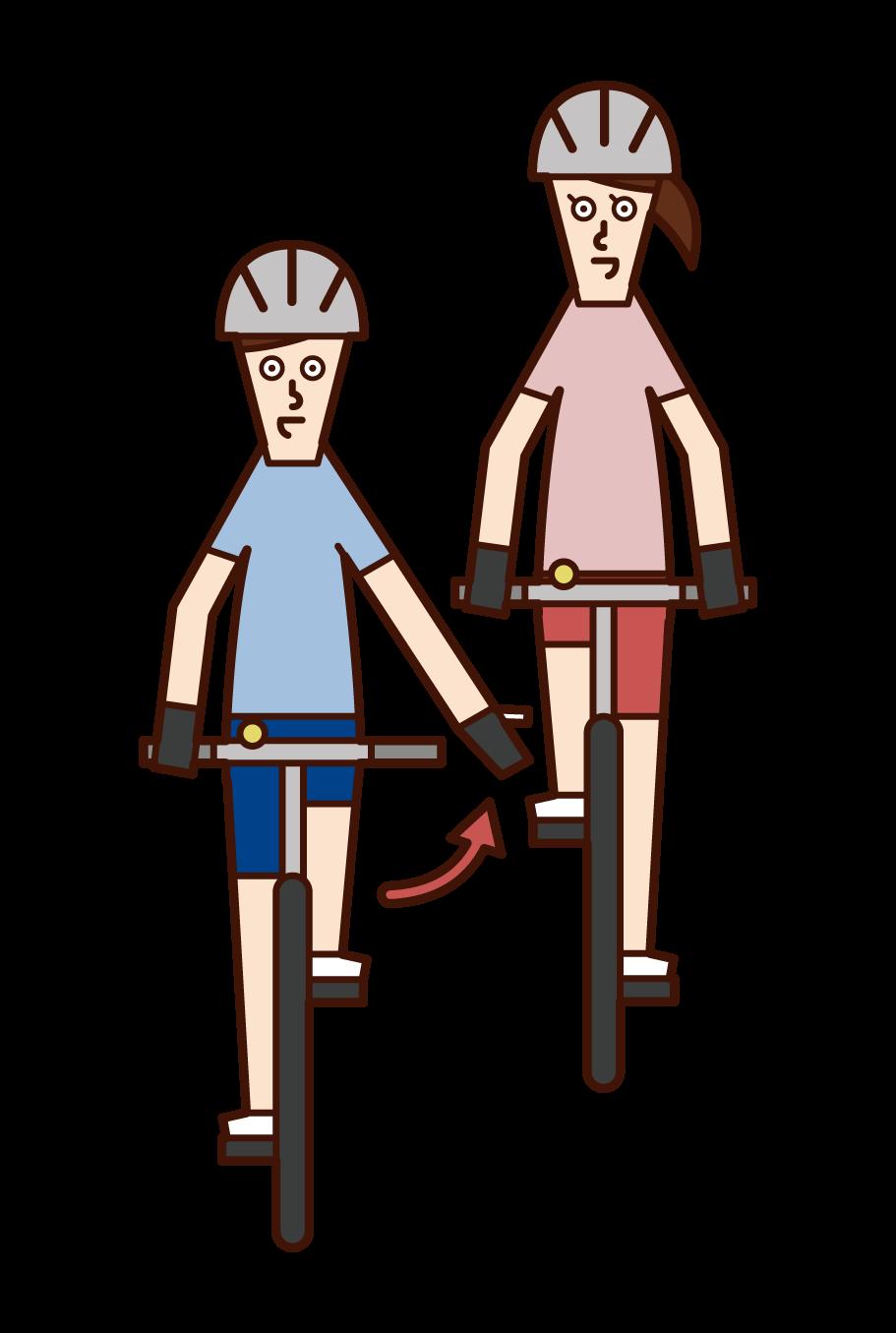 自転車の手信号・先に行ってもらう(男性)のイラスト